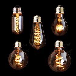 T45 A19 ST64 G80 G95 G125, Spirale Lumière LED Filament Ampoule, 3 W 2200 K, Rétro Vintage lampes, Éclairage Décoratif, Dimmable