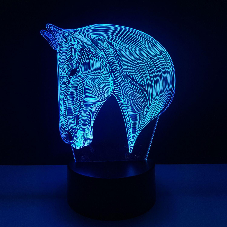 USB nouveauté cadeaux 7 couleurs changeant Animal cheval LED veilleuse 3D bureau Table lampe USB tactile bébé enfant dormir décoration de la maison