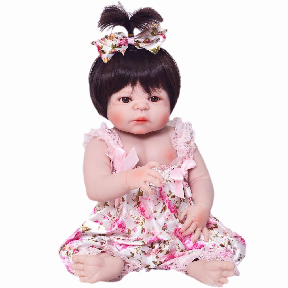 23'' Reborn Babies Silicone Doll Alive Reborn Boneca 100% Handmade Lifelike Full Body Vinyl Baby Toy Doll For Girl Birthday Gift