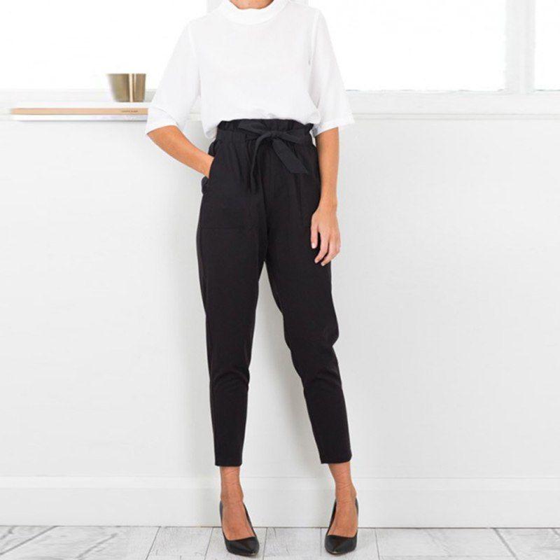 2017 Chiffon high Waist Harem Pants Women Stringyselvedge Summer Style Casual Pants Female Black Trousers Plus size S8