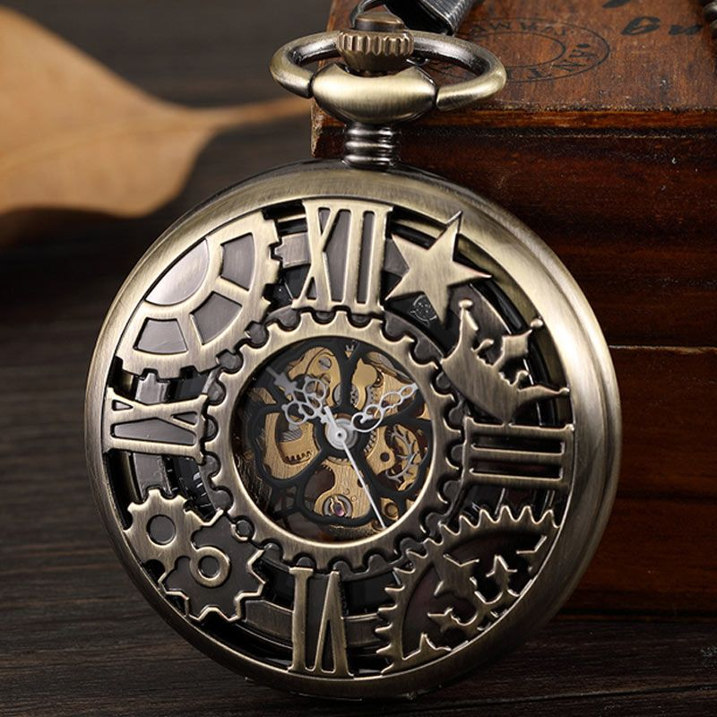Bronze Hollow Geometric Patterns Vintage Mechanical Pocket Watch Men Hand Wind Stainless Steel Retro Fob Watch With Chain