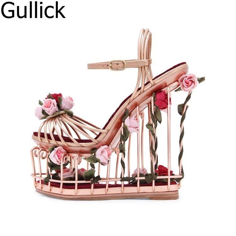 New Design Women Floral Ankle Buckle Strap Wedding Shoes Elegant Flower Decoration Hollow Out High Platform Wedge Heel Sandals