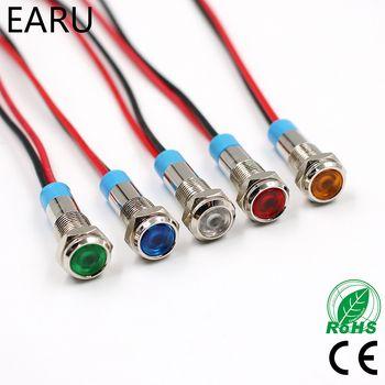 6mm LED Métal Voyant Étanche Signal Lampe 3 V 5 V 6 V 9 V 12 V 24 V 110 V 220 v Rouge Jaune Bleu Vert Blanc Pilote Joint Ampoule