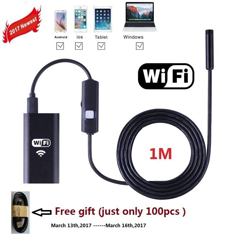 1M Zjuxin WiFi Endoscope 8mm Lens endoscope iphone NEW one endoscope camera android with 6 led mini wifi camera