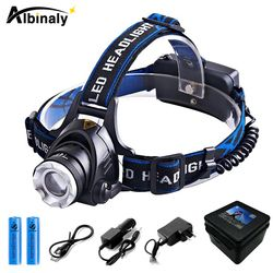 Albinaly RU 6000LM Cree XML-L2 XM-L T6 Led Headlamp Zoomable Headlight Waterproof Head Torch Head lamp Fishing Hunting Light