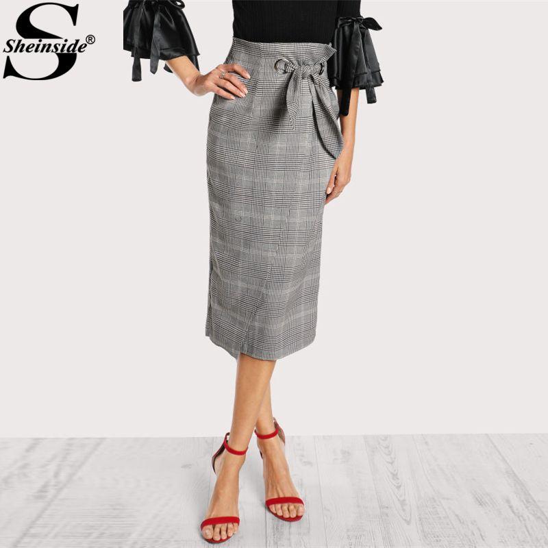 Sheinside Grommet Detail Bow Tie Grey Plaid Wrap Skirt 2017 Elegant Work Mid Waist Full Length Knot Skirt With Zip, Belted