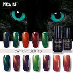 ROSALIND 7ML Black Bottle 3D Cat Eyes Magnet Nail Gel Polish Effect C01-30 UV LED Gel Nail Polish With Powder Glitter Nail Art