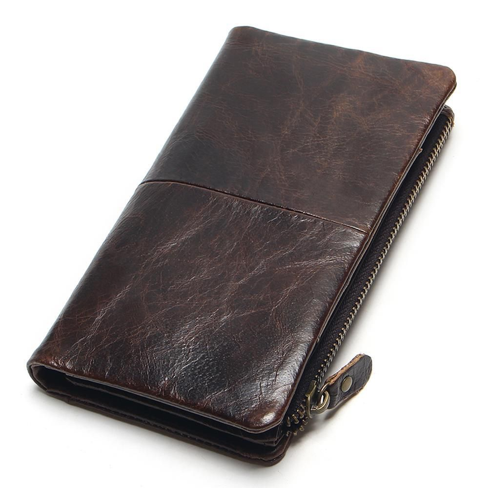 100% Genuine Oil Wax Leather 2018 New Luxury Vintage Retro Cowhide Men Long Wallet Wallets Coin Purse Clutch With Zipper For Men