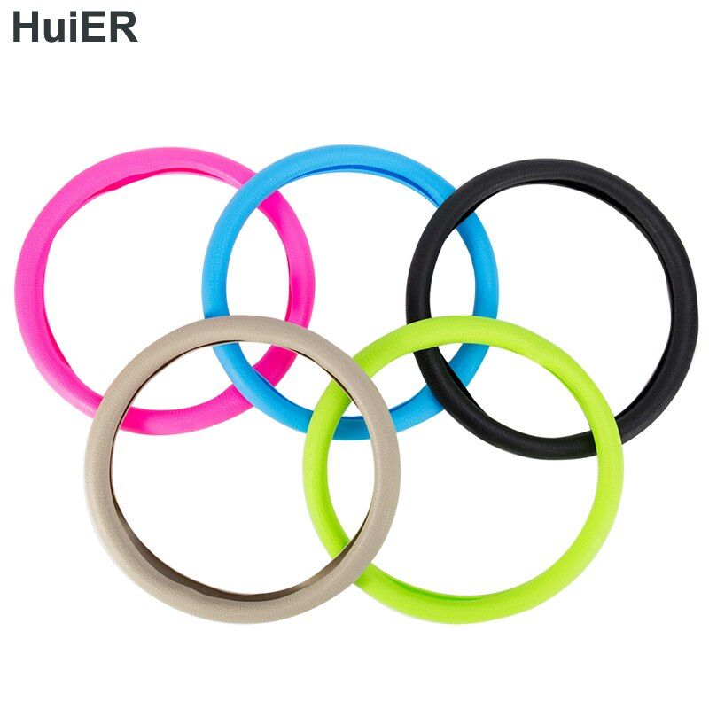 HuiER High Quality Food Grade Silicone Auto Steering-Wheel Cover Anti-slip for 36-40CM Car Styling Steering Wheel Free Shipping