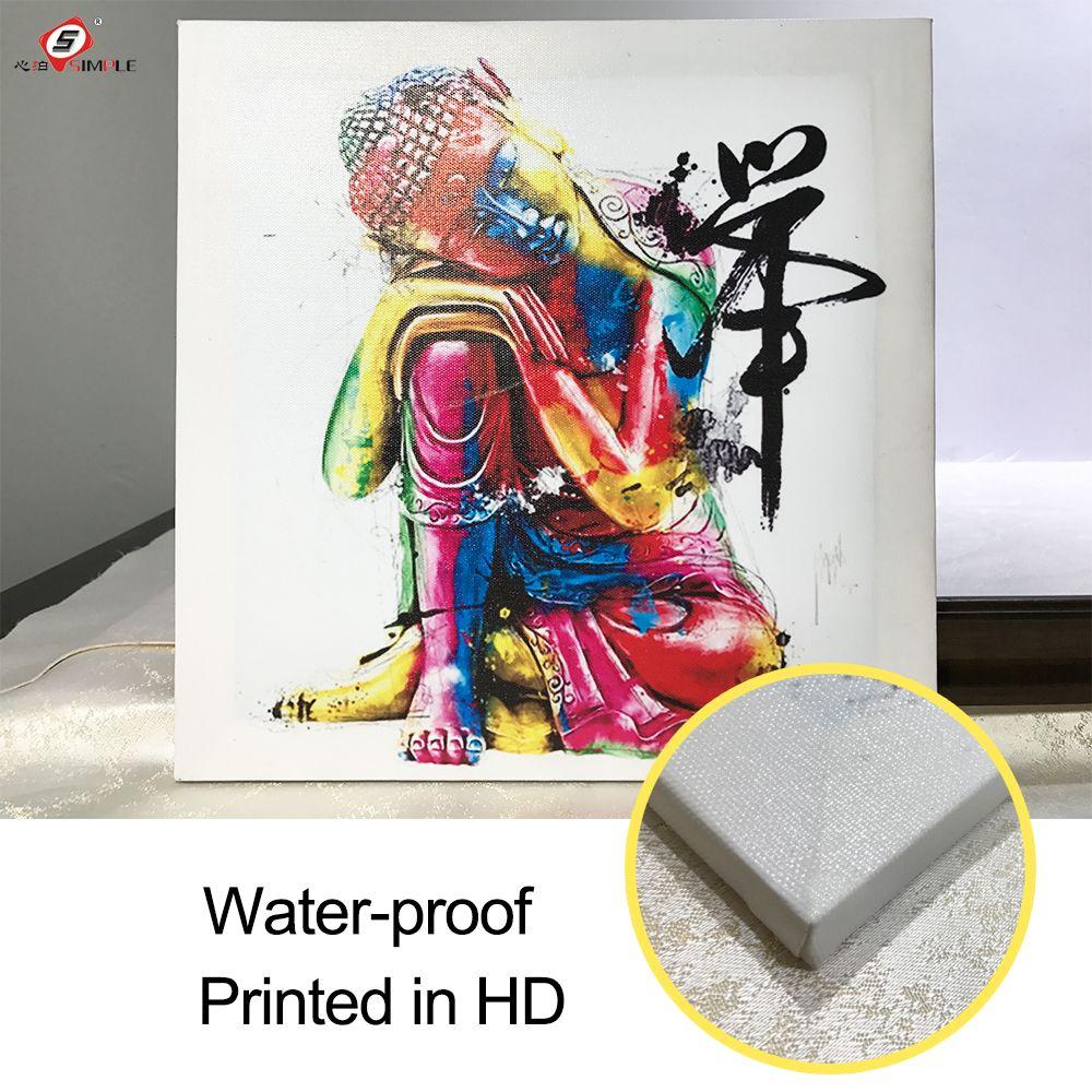 Peinture à l'huile toile abstraite colorée tête de bouddha mur Art décoration peinture décorative mur photos pour salon (1 pièces)