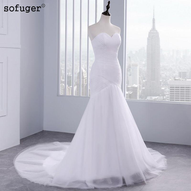 2019 offre spéciale Sexy Tulle sans bretelles trompette sirène robes de mariée pas cher plage robe de mariée Vestidos de Noivas avec dos à lacets