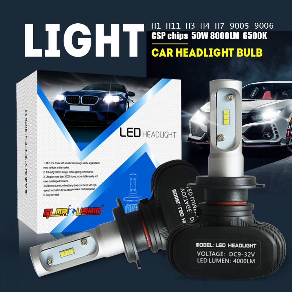 <font><b>2pcs</b></font> H7 Led H4 H11 H1 H3 9005 9006 Car LED Headlight Auto fog Lamp 50W 8000LM Automobile Bulb Chips CSP 6500K Car lighting