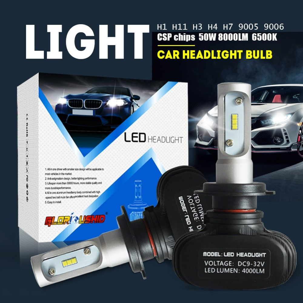 2pcs H7 Led H4 H11 H1 H3 9005 9006 Car LED Headlight Auto fog Lamp 50W 8000LM Automobile Bulb Chips CSP 6500K Car lighting