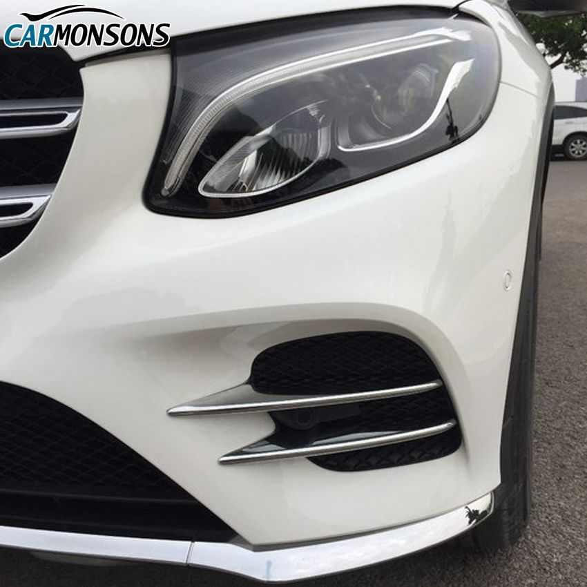 Carmonsons Front Fog Light Lamp ABS Chrome Trim Cover Stickers for Mercedes Benz GLC Class X253 2016+ Accessories Car Styling