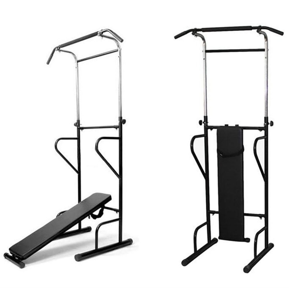Fitness Power Tower Dip Station Sit/Pull/Press/Chin Up Bench Bar Home Gym Training Device Equipment for men