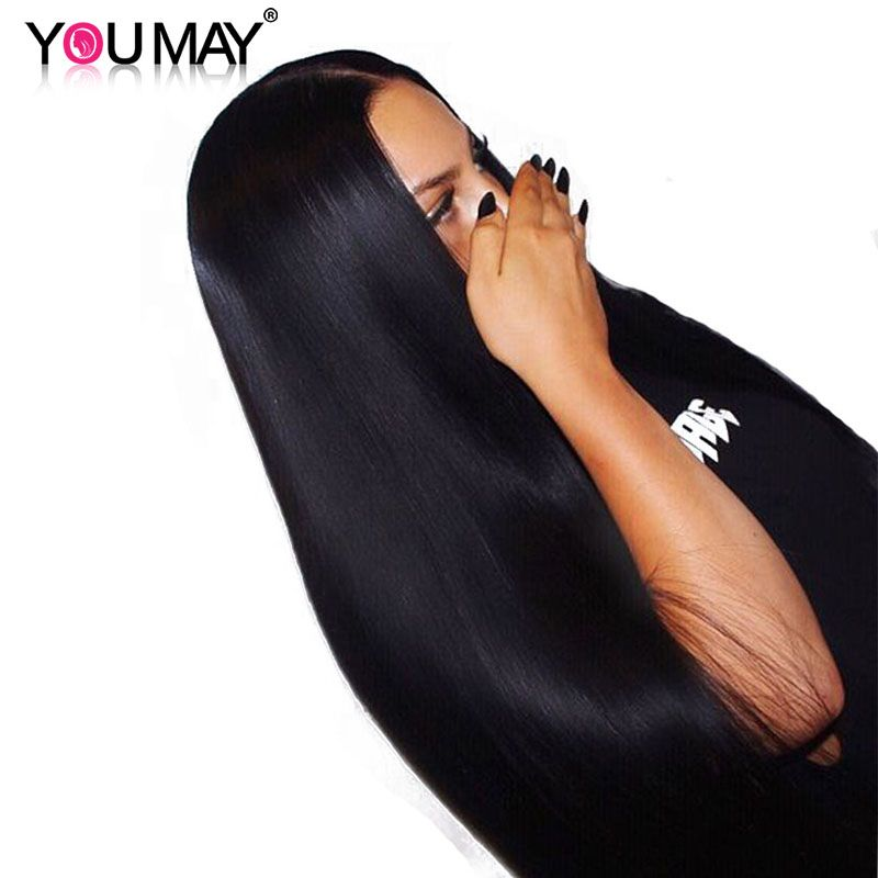 Lace Front Human Hair Wigs With Baby Hair 250% Density Straight Lace Front Wigs Brazilian Remy Hair Bleached Knots You May
