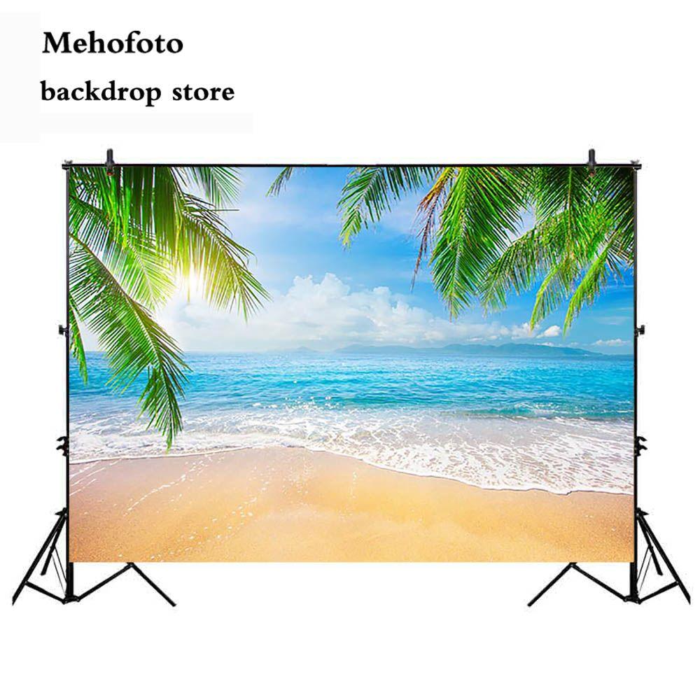 Mehofoto Sandy Beach Summer Photography Backdrops Blue Sky and Sea Photo Booth Backgrounds Studio Island Sun Backdrop 712