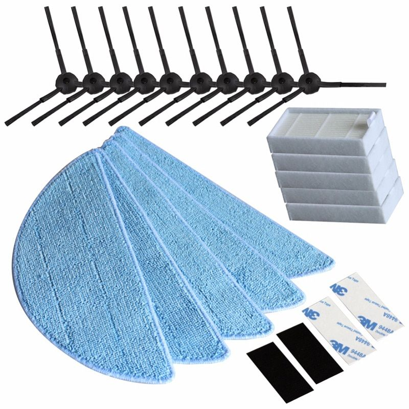10*side Brush+5*hepa Filter+5*Mop Cloth+5*magic paste for ilife v5s ilife v5 pro ilife x5 V3+ V5 V3 v5pro vacuum cleaner parts