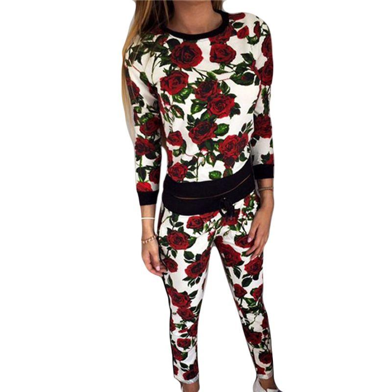 FUNOC Casual Long Sleeve Set Women Suit Slim Tracksuit 2 Pieces Set O-Neck Printed T-Shirt + Pants Suit Women Sets Plus Size