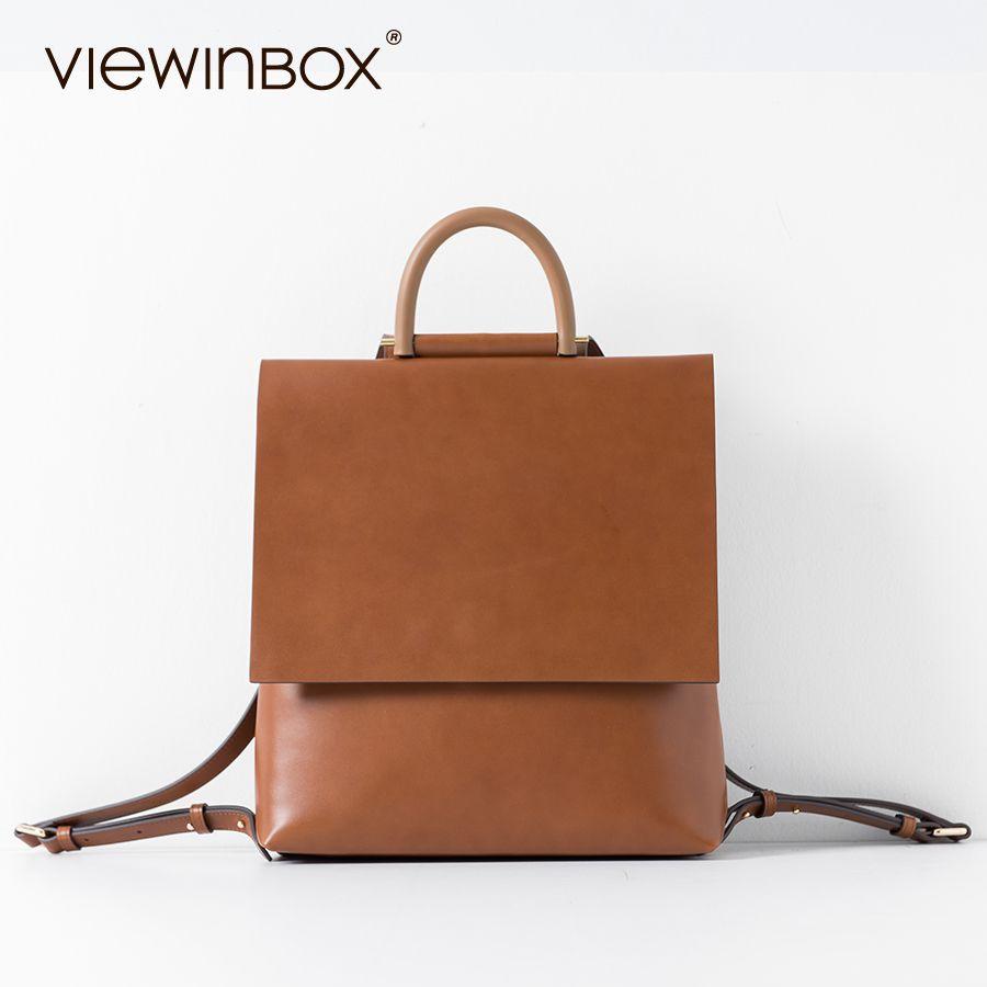 Viewinbox дизайнерский бренд Школьные ранцы кожаный рюкзак высокое качество Для женщин кожа Рюкзаки Повседневное рюкзак для подростков Обувь д...