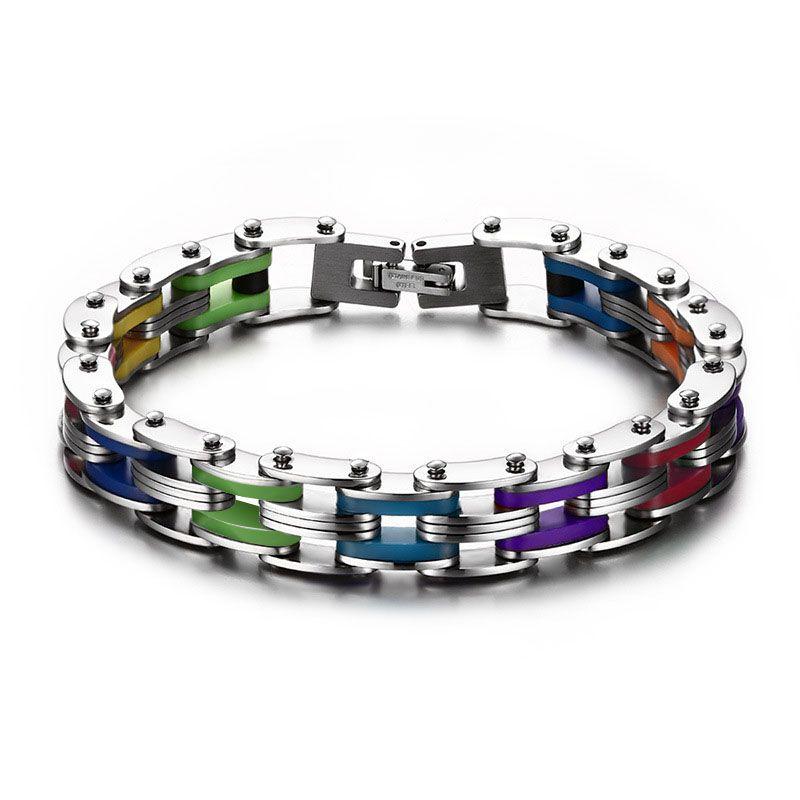 SIZZZ Silicone Stainless Steel Bracelet Men Bangle Rainbow Color 316L Stainless Steel Clasp Bracelet Bracelet For Men Women