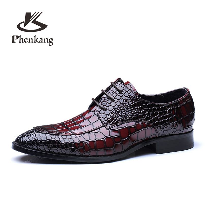 Men flats business quality leather shoes mens wine red blue lace up large size us11 dress wedding party fashion Shoes
