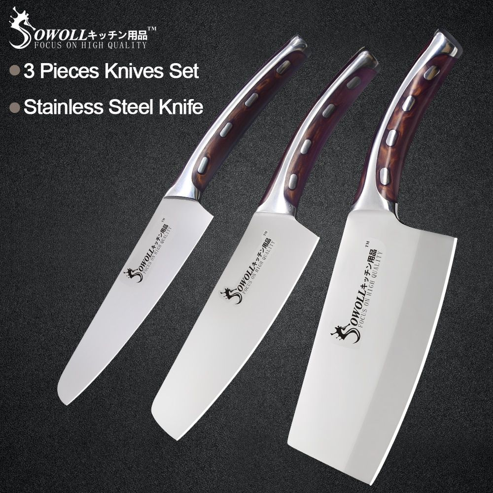 Sowoll 3 Piece Stainless Steel Kitchen Knife Set 5 6 7 inch Resin Fibre Handle High Carbon Blade Utility Chef Chopping Knives