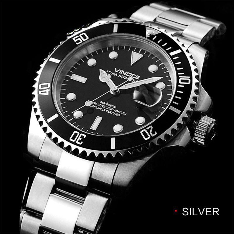 Для мужчин смотреть 20bar 200 м водонепроницаемый Дайвинг кварцевые часы стали наручные часы 2017 Роскошные деловые классические часы Relogio masculin
