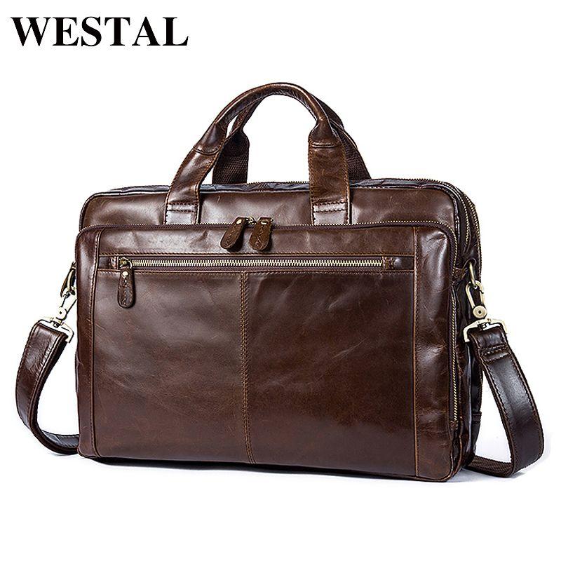 WESTAL Messenger Bag Men Genuine leather shoulder bags man Business male briefcases bag for laptop documents handbags 9207