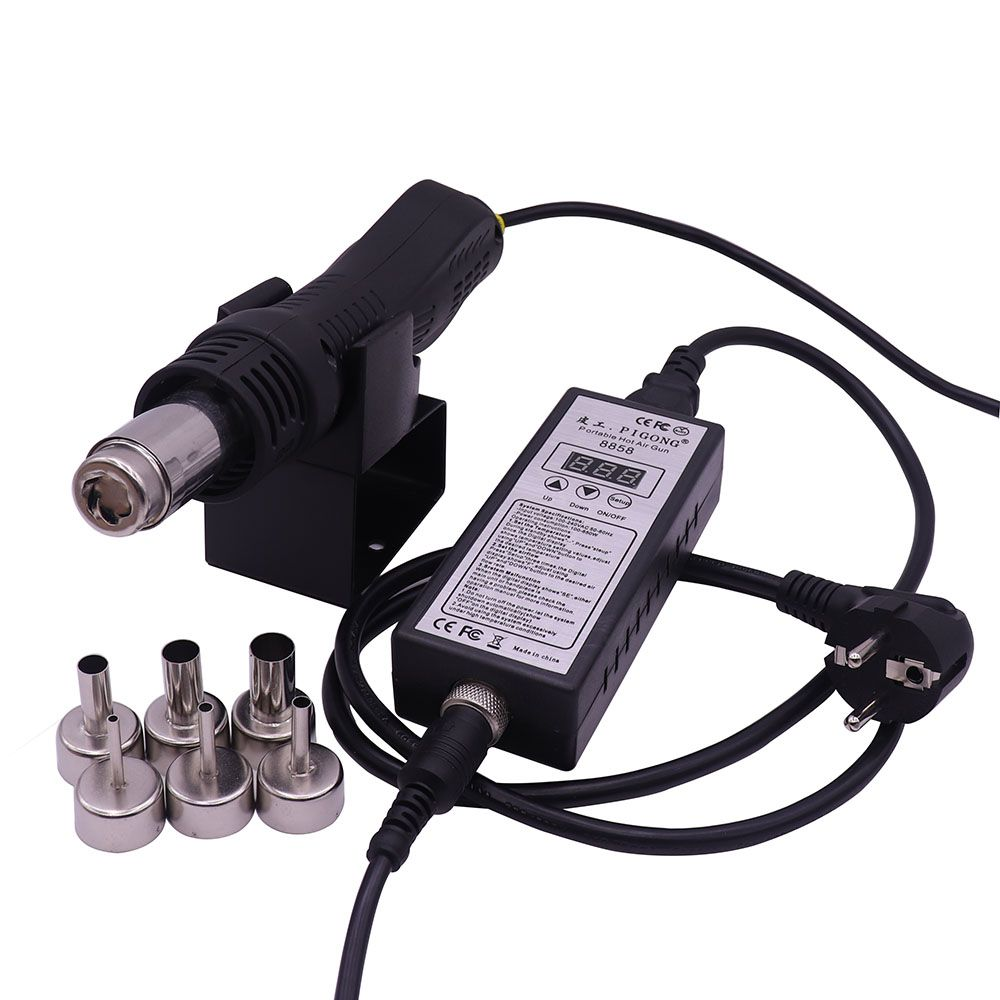 220V Portable BGA Rework Solder Station Hot Air Blower Heat Gun 8858 Better Hand-held hot air gun 6pcs