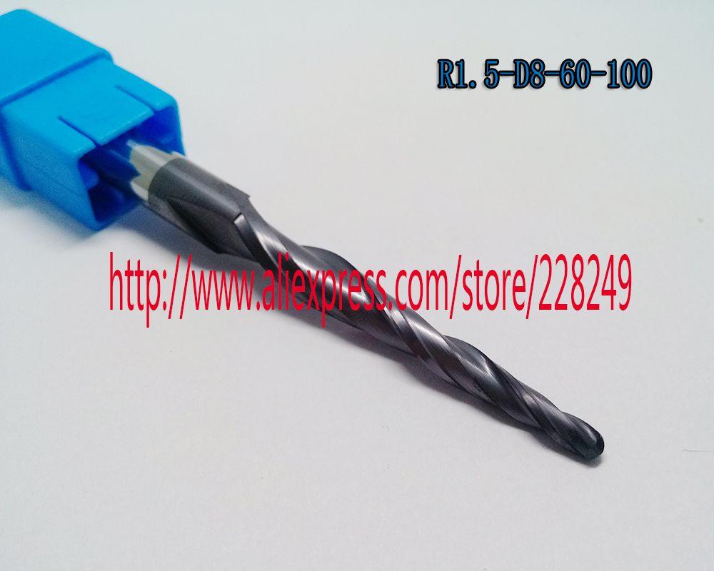 1 stück R1.5 * D8 * 60 * 100L * 2F hrc55 Tungsten Beschichtet Konischen Kugelfräser mühlen CNC fräser