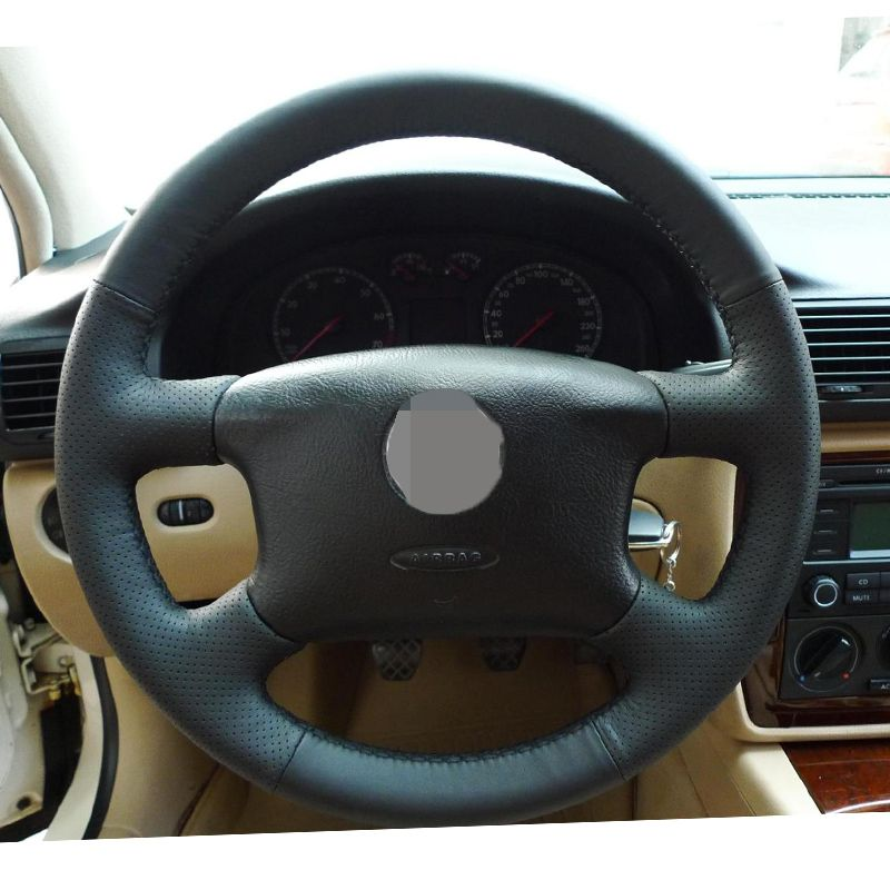 Hand-stitched Black Leather Steering <font><b>Wheel</b></font> Cover for Volkswagen Passat B5 VW Passat B5 VW Golf 4