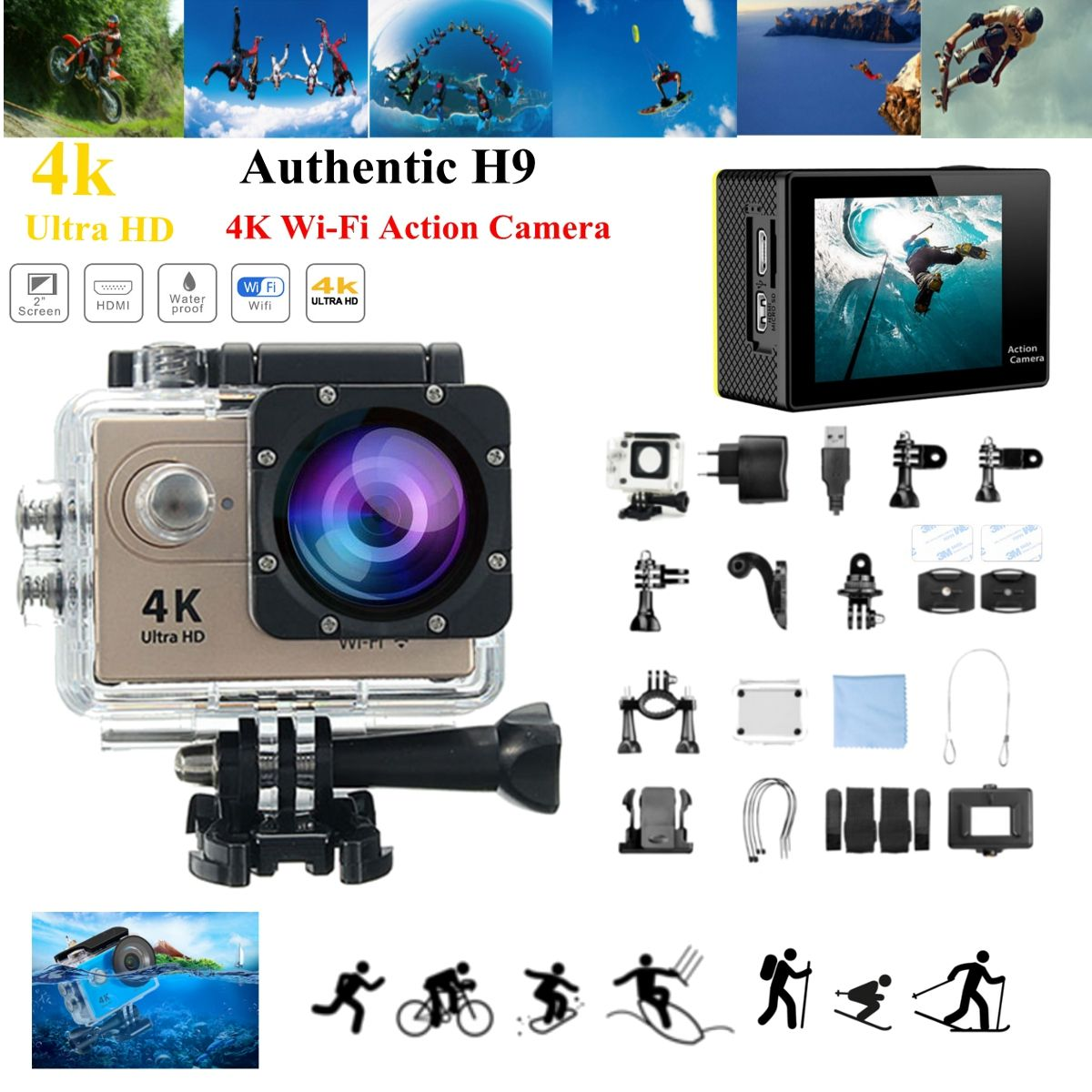 H9R / H9 SE Ultra 4K HD 1080P WIFI 60FPS Action Sport Camera 170 degree Wide Camcorder