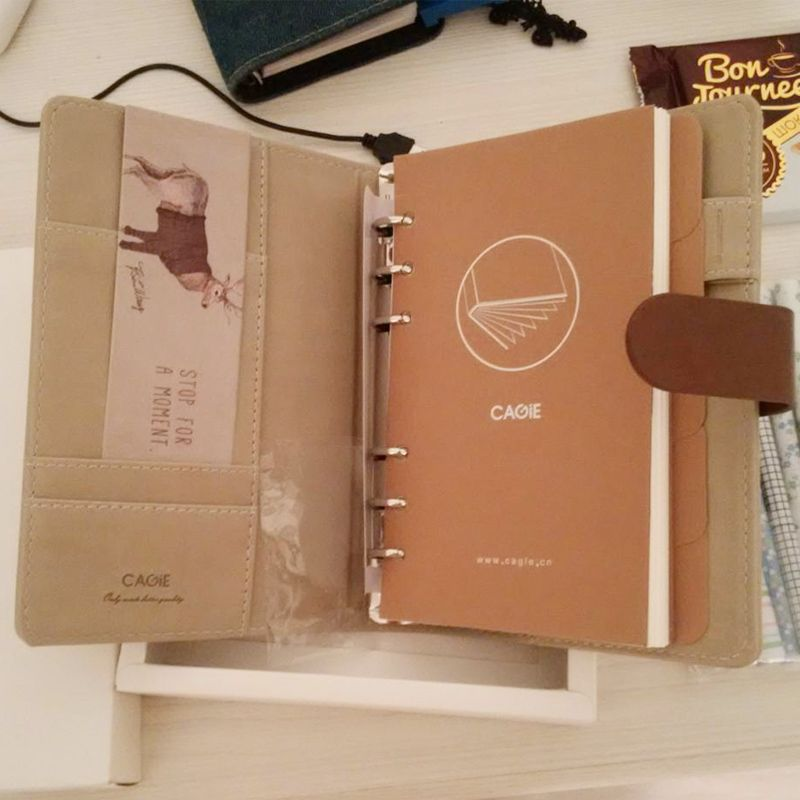 CAGIE Cute Binder Travelers Notebook Leather Journals Kawaii Panda/Cat Lined Pages Diary Planner School Filofax a6 Agenda