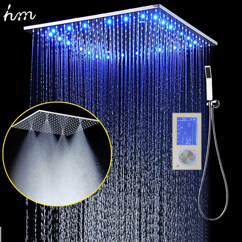 3 струй светодио дный интеллектуальный цифровой Дисплей дождь Душ Instal светодио дный в стене 20