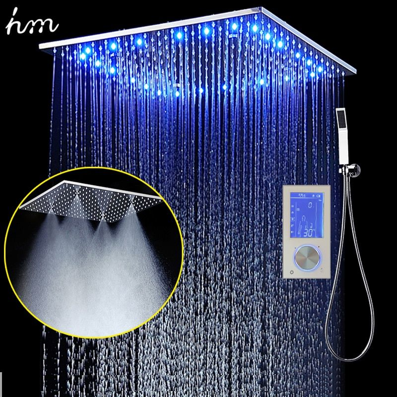 3Jets LED Intelligent Digital Display Rain Shower Set Installed in Wall 20