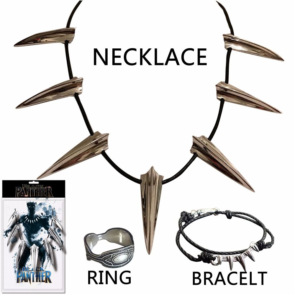 Dropshipping New Black Panther Necklace Wakanda King T'Challa Black Panther Cosplay Ring Bracelet Accessories