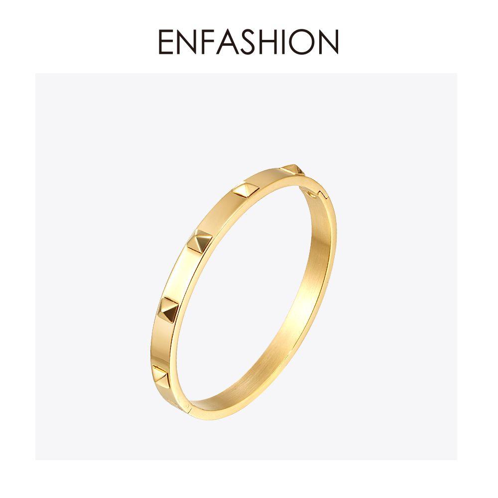 Enfashion pyramide pointes Bracelet Manchette couleur or Bracelet en acier inoxydable pour femmes manchettes Bracelets Bracelets Pulseiras