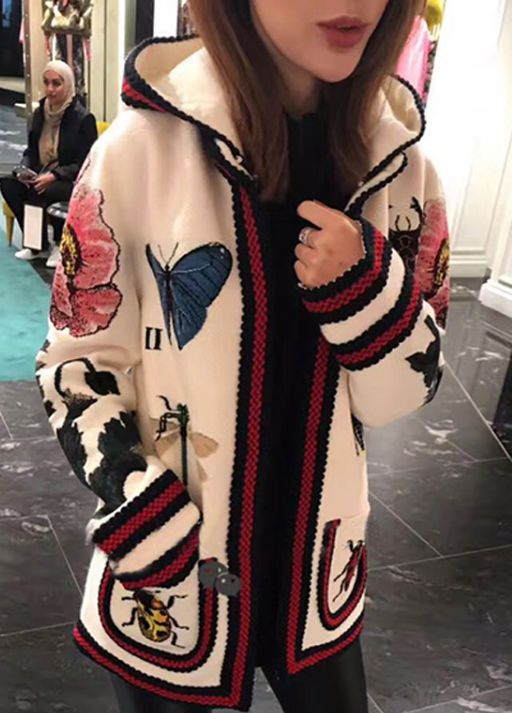 Arlenesain custom the new color early spring flowers insect butterfly printing long section hooded sweater women coat