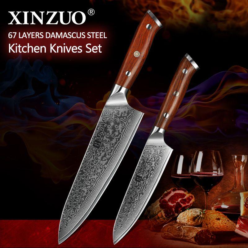 XINZUO 2PCS Chef Küche Messer Set Japan VG10 Damaskus Stahl Koch Utility Messer Palisander Griff Beste Qualität Küche Kochen werkzeuge