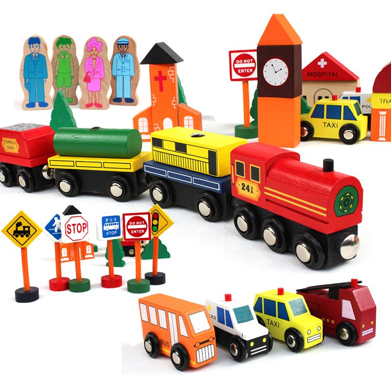 Wooden Building Blocks traffic scenes of children toy Set, Wood Magnetic train toys, Kids Classic wooden Blocks scale models Car
