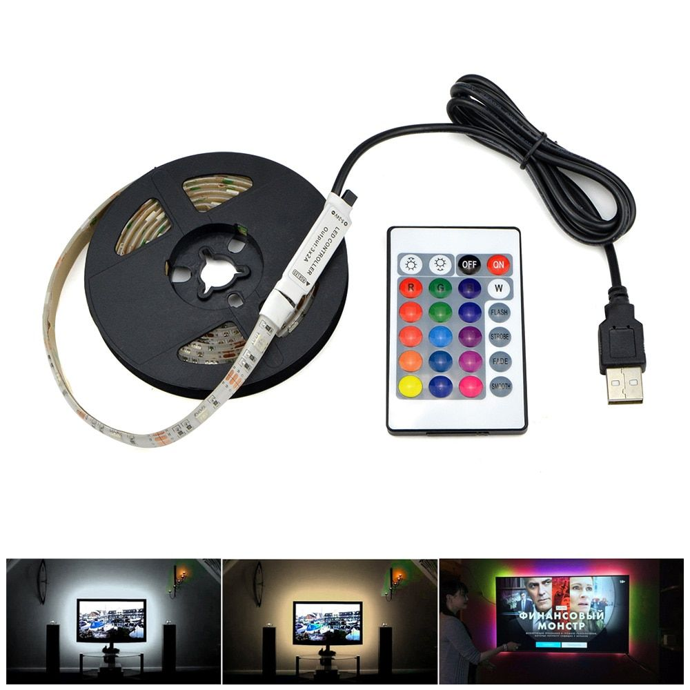 3528 SMD DC5V USB charger adapter LED strip light white / warm white / RGB with IR remote control USB cable LED lamp Decor light