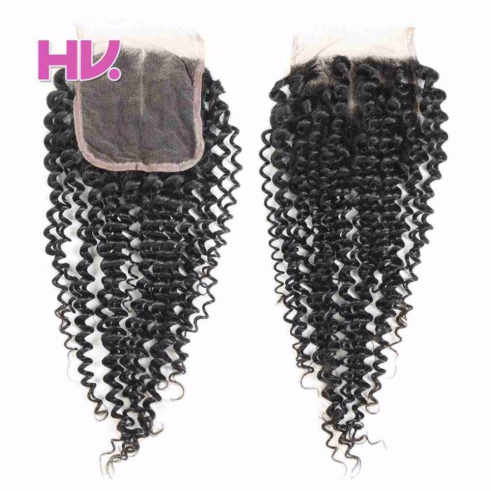 Hair Villa Brazilian Kinky Curly Remy Human Hair Lace Closure 4
