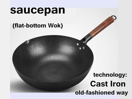 Old-fashioned Hause kochgeschirr schwarz Kochen wok weniger-öl-rauch Handgemachte gusseisen nicht-stick pan für gas herd elektromagnetische ofen
