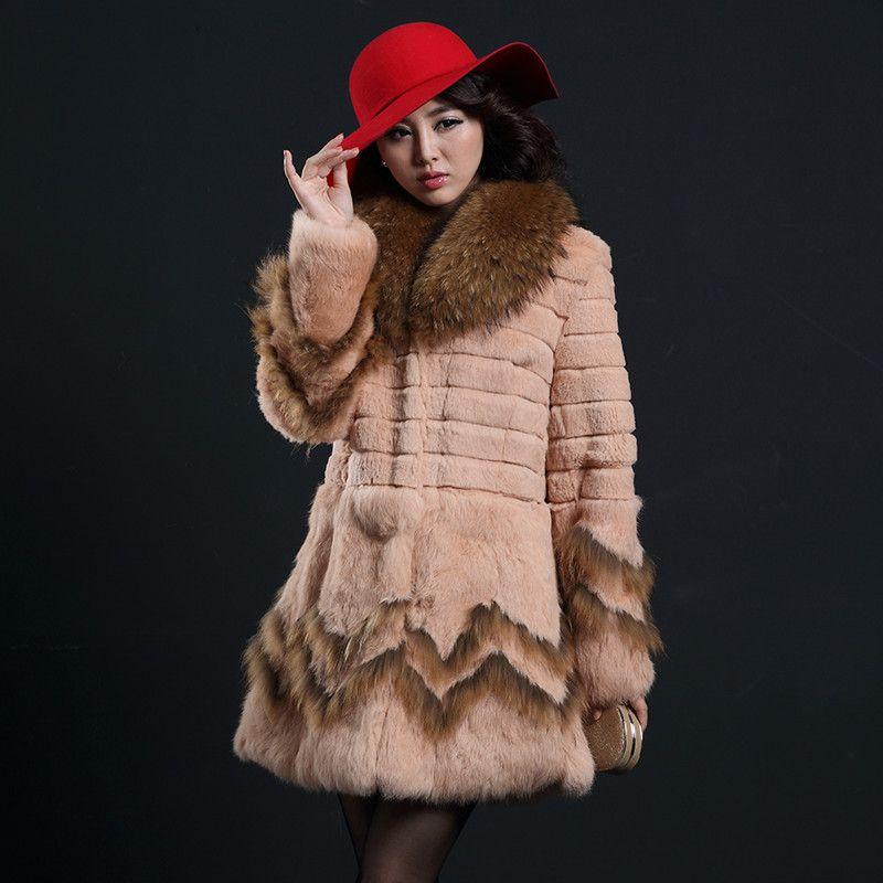 2017 Autumn Winter Women's Genuine Real Rabbit Fur Coat Raccoon Fur Collar Female Medium-long Outerwear Garment Plus Size 0047