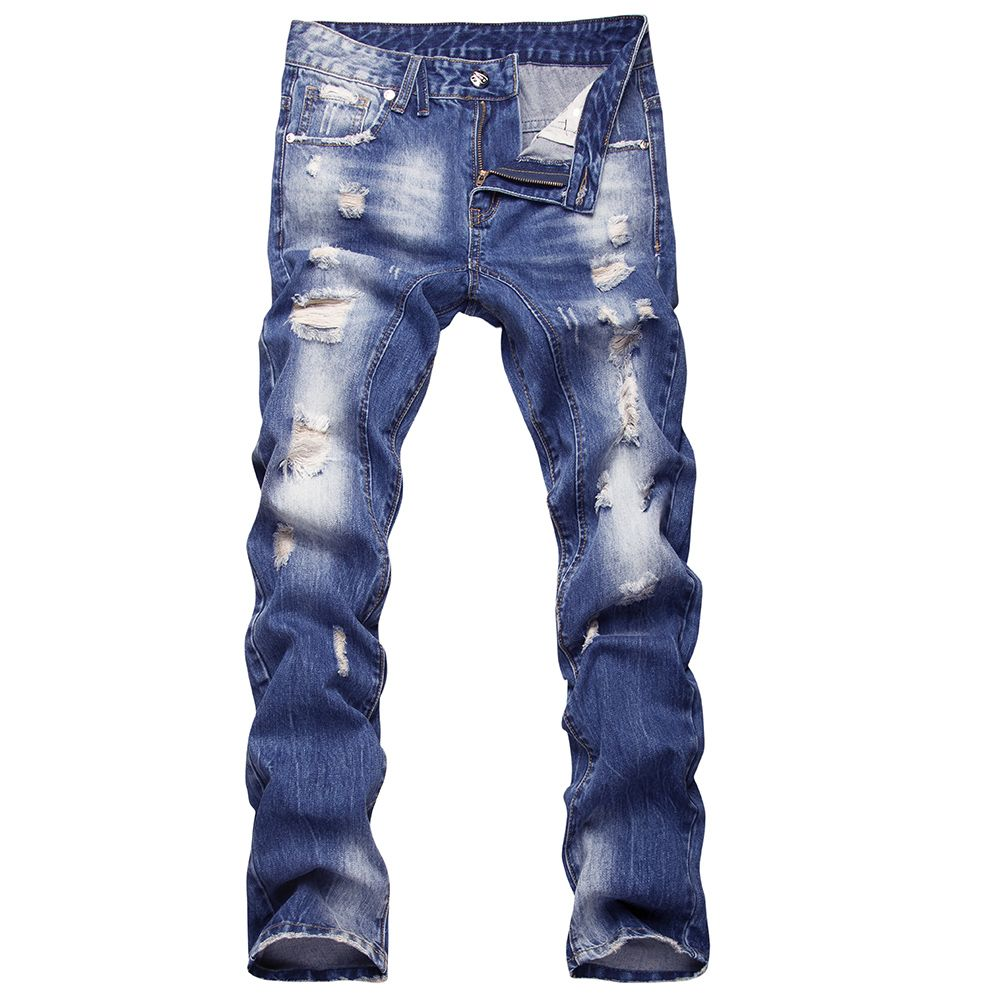 2017 new style hole patch beggars slim men jeans pants men's denim straight trousers 29-40 AYG26