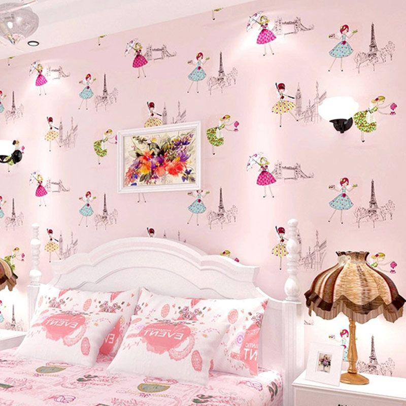 Modern Cartoon Kid Wallpaper Children Room Papel De Parede Roll 3D Pink Ballet Girl Princess Room Bedroom Non-woven Wallpaper