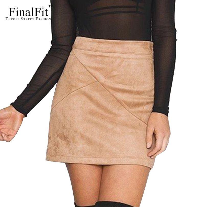 High <font><b>Waist</b></font> Pencil Skirt Women Suede Tight Bodycon Sexy Short Mini Women Skirt