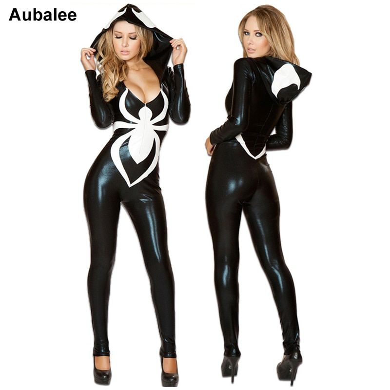 2018 Spiderman Jumpsuit New Black Halloween Costume For Women Ladies Venom Spider Sexy Faux Leather Catsuit Hood Disfraz Mujer