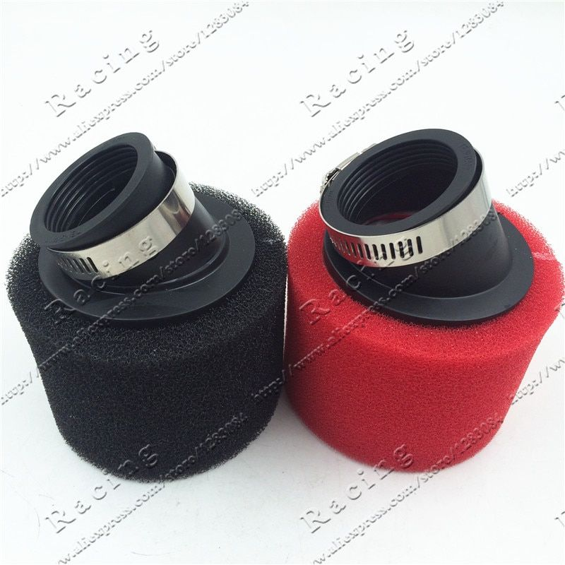 38mm-48mm ATV PIT DIRT BIKE 45 Degree ANGLED FOAM Air Filter Pod Cleaner 110cc 125cc RED CRF50 XR50 CRF